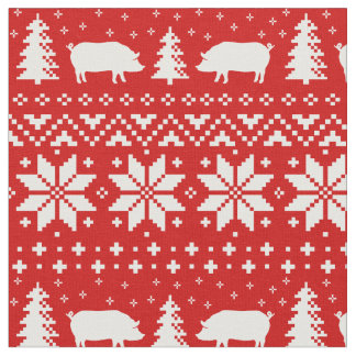 Pig Silhouettes Christmas Pattern Fabric