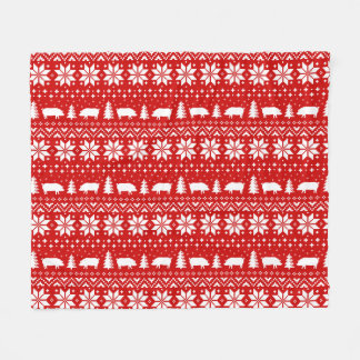 Pig Silhouettes Christmas Pattern Fleece Blanket