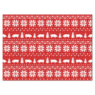 Pig Silhouettes Christmas Pattern Tissue Paper