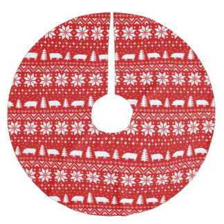 Pig Silhouettes Christmas Sweater Pattern Brushed Polyester Tree Skirt