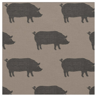 Pig Silhouettes Pattern Fabric