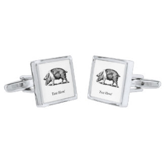 Pig Silver Finish Cuff Links