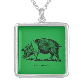 Pig Silver Plated Necklace