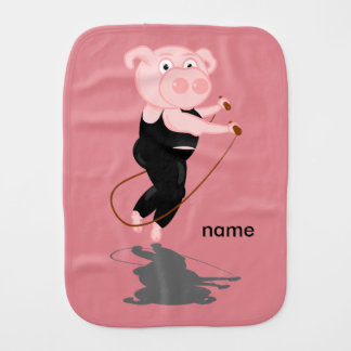 Pig Skipping Baby Burp Cloth