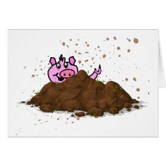 Pig Sty, Happy Pig in Mud Card