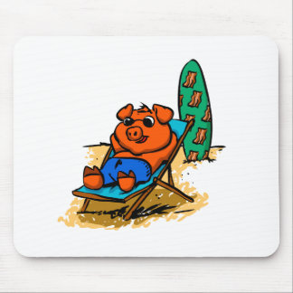 Pig sunbathing on the beach mouse pad