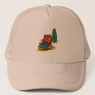 Pig sunbathing on the beach trucker hat