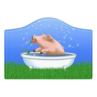Pig Taking Bath Door Sign