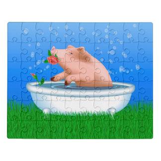 Pig Taking Bath Jigsaw Puzzle