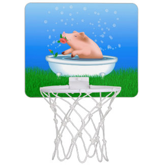 Pig Taking Bath Mini Basketball Hoop