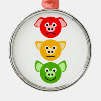 Pig Traffic Lights Silver-Colored Round Decoration