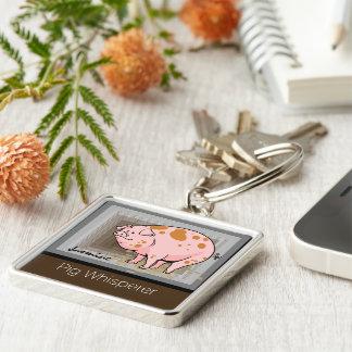 Pig whisperer monogram Silver-Colored square keychain