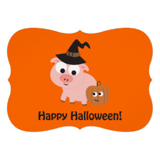 Pig Witch Halloween Party Invitation