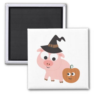Pig witch square magnet