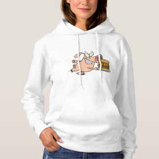 Pig With A Burger Womens Hoodie