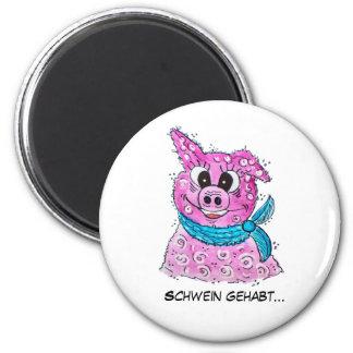 Pig with loop 6 cm round magnet