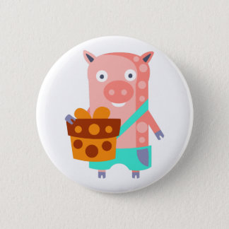Pig With Party Attributes Girly Stylized Funky 6 Cm Round Badge