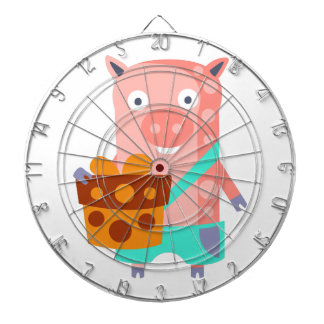 Pig With Party Attributes Girly Stylized Funky Dartboard