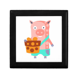 Pig With Party Attributes Girly Stylized Funky Gift Box