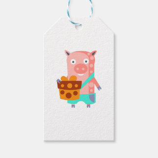Pig With Party Attributes Girly Stylized Funky Gift Tags