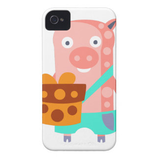 Pig With Party Attributes Girly Stylized Funky iPhone 4 Case-Mate Case