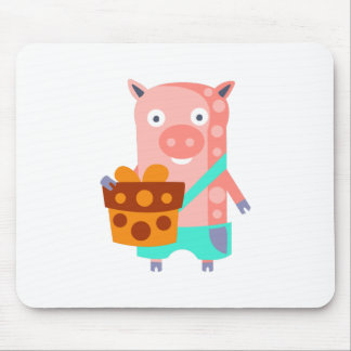 Pig With Party Attributes Girly Stylized Funky Mouse Pad