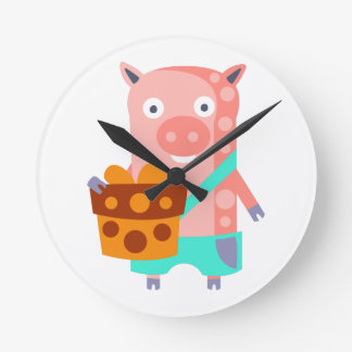 Pig With Party Attributes Girly Stylized Funky Round Clock