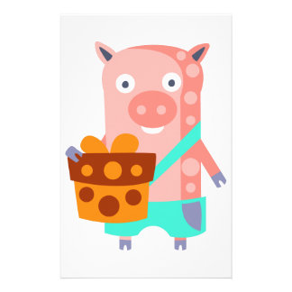 Pig With Party Attributes Girly Stylized Funky Stationery