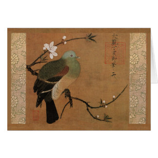 Pigeon and peach by Momohatozu Chinese art Card