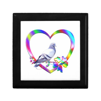 Pigeon in Colorful Heart Gift Box