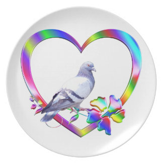 Pigeon in Colorful Heart Plate