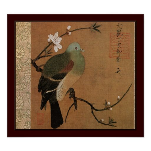 Pigeon on the Peach Tree Vintage Japanese Floral Posters