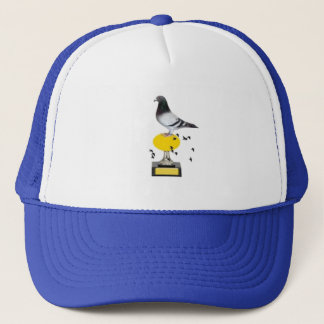 pigeon on trophy with golden egg trucker hat