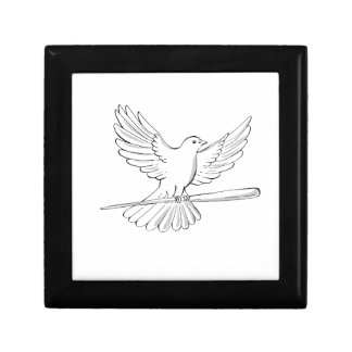 Pigeon or Dove Flying With Cane Drawing Gift Box