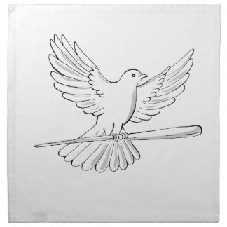 Pigeon or Dove Flying With Cane Drawing Napkin