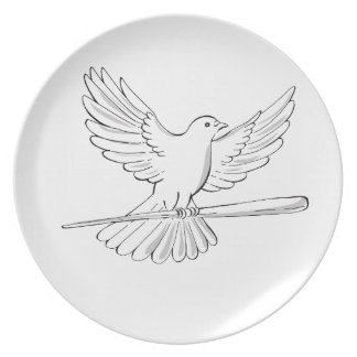 Pigeon or Dove Flying With Cane Drawing Plate