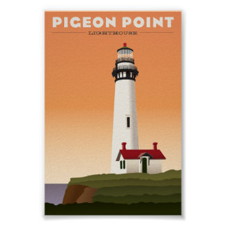 Pigeon Point Lighthouse Vintage travel poster