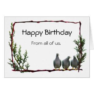 Pigeon birthday cards invitations zazzle pigeons on twig birthday card bookmarktalkfo Images