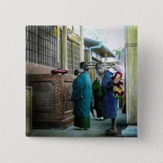 Piggy Backing to Prayer Time at Local Temple Japan 15 Cm Square Badge
