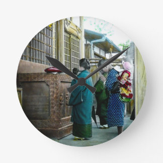 Piggy Backing to Prayer Time at Local Temple Japan Wall Clocks