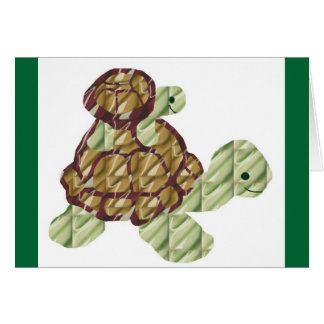 Piggy backing turtles blank card