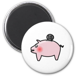 Piggy Bank 6 Cm Round Magnet