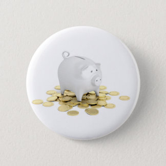 Piggy bank and coins 6 cm round badge