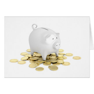 Piggy bank and coins card