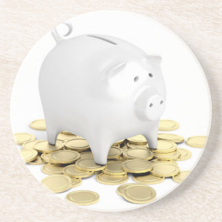 Piggy bank and coins coaster