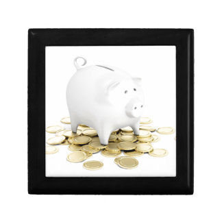 Piggy bank and coins gift box