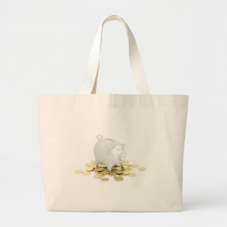 Piggy bank and coins large tote bag