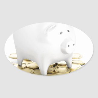 Piggy bank and coins oval sticker