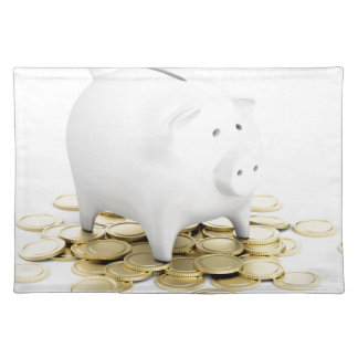 Piggy bank and coins placemat