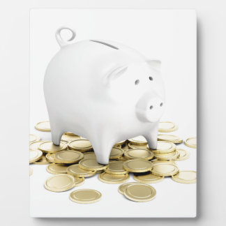 Piggy bank and coins plaque